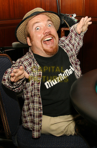 TWO FOOT FRED.The TJ Martell Celebrity Poker Tournament at Marriot Marquis. New York..USA, United States..13th November 2005.Ref: ADM/JL.half length sitting at poker table straw trilby hat lumberjack shirt ginger facial hair beard goatee hands in air shock surprise gesture posed.www.capitalpictures.com.sales@capitalpictures.com.© Capital Pictures.