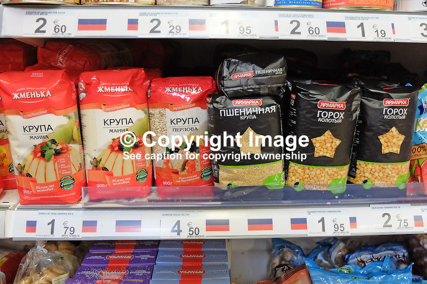 Russian grocery products have dedicated displays in Spanish supermarkets on the Costa del Sol, Spain. March 2015. 201503160653<br />