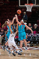 STANFORD, CA - December 4, 2016: Mikaela Brewer, Shannon Coffee at Maples Pavilion. Stanford defeated UC Davis, 68-42. The Cardinal wore turquoise uniforms to honor Native American Heritage Month