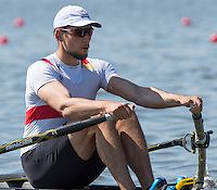 Brandenburg. GERMANY.<br /> GER M1X. Phillipp SYRING, at the start of his heat. 2016 European Rowing Championships at the Regattastrecke Beetzsee<br /> <br /> Friday  06/05/2016<br /> <br /> [Mandatory Credit; Peter SPURRIER/Intersport-images]