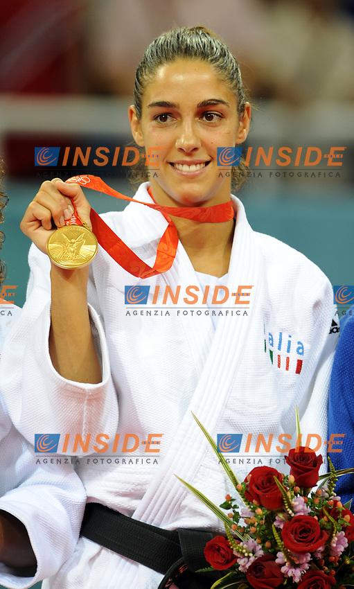 Esultanza di Giulia Quintavalle medaglia d'oro nel Judo categoria fino a 57Kg<br /> USTB Gymnasium<br /> Pechino - Beijing 11/8/2008 Olimpiadi 2008 Olympic Games<br /> Foto Andrea Staccioli Insidefoto