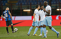 """Esultanza dopo il gol di Ogenyi Onazi Lazio, Goal Celebration, Milano 8/5/2013 .Stadio """"S.Siro"""".Football Calcio 2012/2013 Serie A.Inter Vs Lazio.Foto Marco Bertorello Insidefoto"""