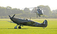 MkI Spitfire with helicopter at Bicester <br /> photo John Goodman<br /> Spitfire (2018)<br /> *Filmstill - Editorial Use Only*<br /> CAP/PLF<br /> Image supplied by Capital Pictures