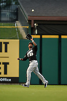 San Antonio Missions outfielder Rymer Liriano (23) catches a fly ball during a game against the Arkansas Travelers on May 24, 2014 at Dickey-Stephens Park in Little Rock, Arkansas.  Arkansas defeated San Antonio 4-2.  (Mike Janes/Four Seam Images)
