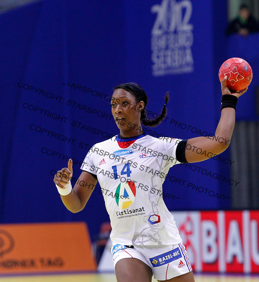 NIS, SERBIA 4/12/2012/ Marie-Paule Gnabouyou during Women`s European Handball Championship Group B match between France and FYR Macedonia (FYROM) in Cair arena in city of Nis in southern Serbia on  December 4, 2012 Credit: PEDJA MILOSAVLJEVIC/SIPA/