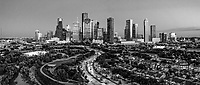 Houston Skyline Pano BW -  This Houston skyline in bw was taken with our drone over the city early one morning.  We like the contrast of the lights and darks in this capture.