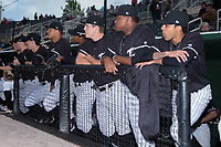 Members of the Kannapolis Intimidators wait for the start of the game against the Lakewood BlueClaws at Kannapolis Intimidators Stadium on April 6, 2017 in Kannapolis, North Carolina.  The BlueClaws defeated the Intimidators 7-5.  (Brian Westerholt/Four Seam Images)