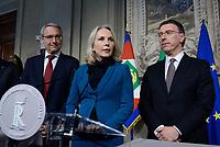 Roma, 4 Aprile 2018<br /> Dieter Steger, Juliane Unterberger, Albert Laniece.<br /> Primo giorno di Consultazioni per la formazione del Governo