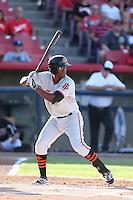 Brian Ragira #55 of the San Jose Giants bats against the High Desert Mavericks at Heritage Field on August 31, 2014 in Adelanto, California. High Desert defeated San Jose, 9-6. (Larry Goren/Four Seam Images)