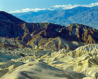 Sunrise light on Golden Canyon and the Panamint Range as viewed from near Zabriskie Point; Death Valley National Park, CA