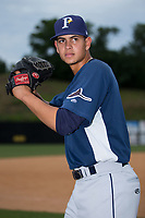 Princeton Rays pitcher Jesus Ortiz (18) poses for a photo prior to the game against the Danville Braves at American Legion Post 325 Field on June 25, 2017 in Danville, Virginia.  The Braves walked-off the Rays 7-6 in 11 innings.  (Brian Westerholt/Four Seam Images)