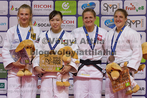 Gold medalist Aimi Nouchi (2nd L) of Japan, silver medalist Martyna Trajdos (L) of Germany with bronze medalists Agata Ozdoba-Blach (2nd R) of Poland and Andreja Leski (R) of Slovenia celebrate their victory during an awards ceremony after the Women -63 kg category at the Judo Grand Prix Budapest 2018 international judo tournament held in Budapest, Hungary on Aug. 11, 2018. ATTILA VOLGYI