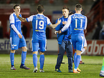 Hamilton Accies v St Johnstone&hellip;09.12.17&hellip;  New Douglas Park&hellip;  SPFL<br />Stefan Scougall is congratulated by his team mates at full time<br />Picture by Graeme Hart. <br />Copyright Perthshire Picture Agency<br />Tel: 01738 623350  Mobile: 07990 594431