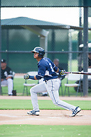 AZL Padres center fielder Jeisson Rosario (9) at bat against the AZL White Sox on July 31, 2017 at Camelback Ranch in Glendale, Arizona. AZL White Sox defeated the AZL Padres 2-1. (Zachary Lucy/Four Seam Images)