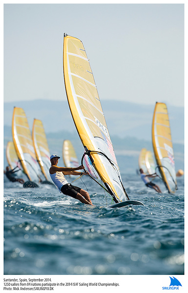 20140912, Santander, Spain: 2014 ISAF SAILING WORLD CHAMPIONSHIPS - More than 1,250 sailors in over 900 boats from 84 nations will compete at the Santander 2014 ISAF Sailing World Championships from 8-21 September 2014. The best sailing talent will be on show and as well as world titles being awarded across ten events 50% of Rio 2016 Olympic Sailing Competition places will be won based on results in Santander. Boat class and Sailor(s): RS:X Men - USA5 - Raul Lopez. Photo: Mick Anderson/SAILINGPIX.DK.