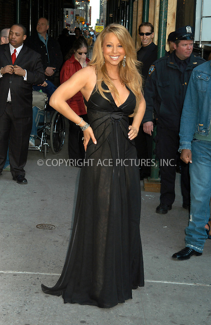 WWW.ACEPIXS.COM . . . . . ....NEW YORK, APRIL 14, 2005....Mariah Carey arrives for an appearance on The Late Show with David Letterman.....Please byline: KRISTIN CALLAHAN - ACE PICTURES.. . . . . . ..Ace Pictures, Inc:  ..Craig Ashby (212) 243-8787..e-mail: picturedesk@acepixs.com..web: http://www.acepixs.com