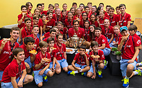 27th October 2019; St. Jakobshalle, Basel, Switzerland; ATP World Tour Tennis, Swiss Indoors Final; Roger Federer (SUI) celebrates his win by by eating pizza with the ball kids after the match against Alex de Minaur (AUS) - Editorial Use
