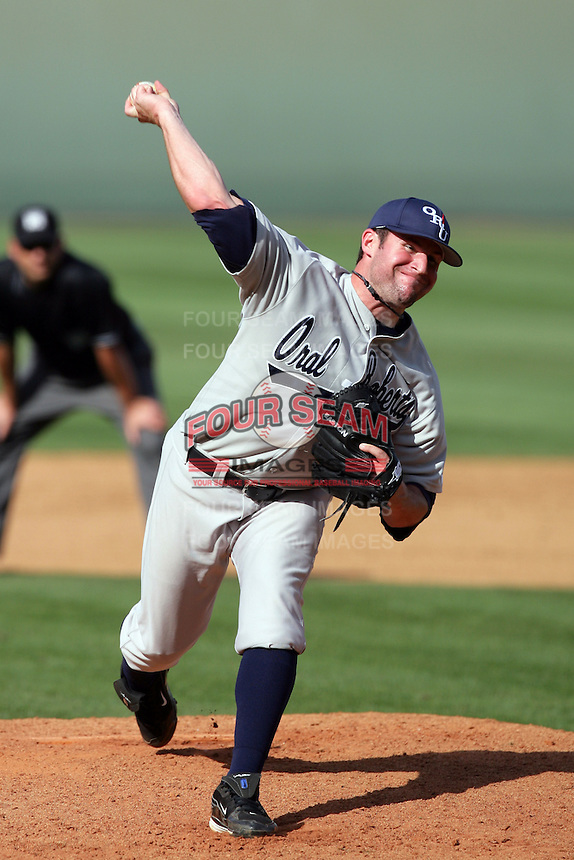 March 20, 2010: Jake Ramsey (28) of Oral Roberts pitches against UCLA at UCLA in Los Angeles,CA.  Photo by Larry Goren/Four Seam Images
