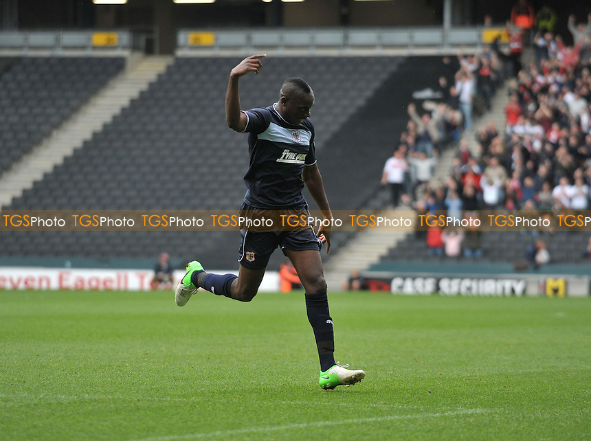 Lucas Akins of Stevenage opens the scoring - MK Dons vs Stevenage - NPower League One Football at Stadium MK, Milton Keynes - 20/10/2012 - MANDATORY CREDIT: Martin Dalton/TGSPHOTO - Self billing applies where appropriate - 0845 094 6026 - contact@tgsphoto.co.uk - NO UNPAID USE.