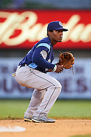 Corpus Christi Hooks second baseman Tony Kemp (7) fields a ground ball during a game against the Arkansas Travelers on May 29, 2015 at Dickey-Stephens Park in Little Rock, Arkansas.  Corpus Christi defeated Arkansas 4-0 in a rain shortened game.  (Mike Janes/Four Seam Images)