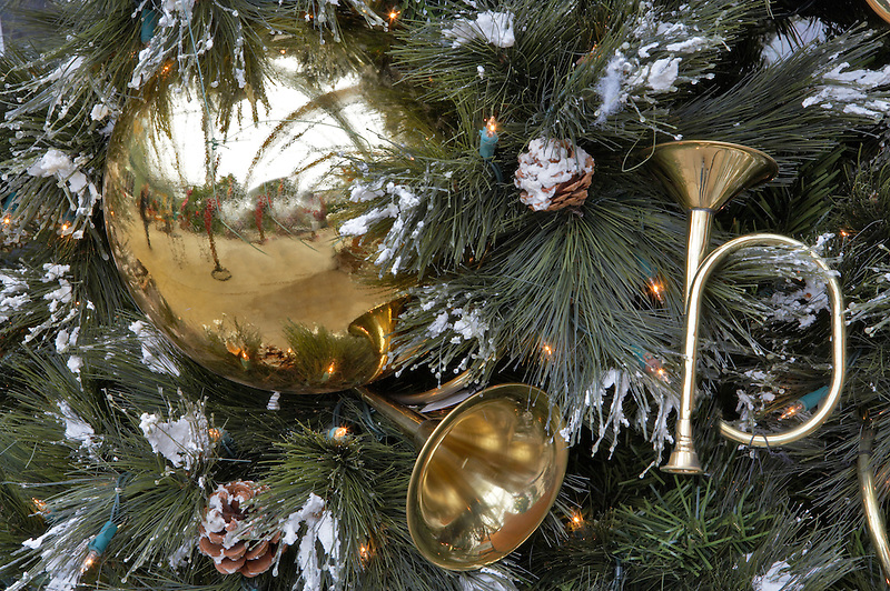 Christmas decorations on Christmas tree. Al's Nursery. Sherwood. Oregon