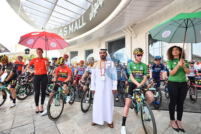 The leaders jerseys lined up before the start of Stage 2 of the 2019 UAE Tour, running 184km form Yas Island Yas Mall to Abu Dhabi Breakwater Big Flag, Abu Dhabi, United Arab Emirates. 25th February 2019.<br /> Picture: LaPresse/Massimo Paolone | Cyclefile<br /> <br /> <br /> All photos usage must carry mandatory copyright credit (© Cyclefile | LaPresse/Massimo Paolone)