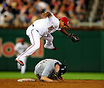 21 August 2009: Washington Nationals' infielder Ronnie Belliard attempts to turn a double-play in the 5th inning against the Milwaukee Brewers at Nationals Park in Washington, DC. The Nationals fell to the Brewers 7-3, in the first game of their four-game series. Mandatory Credit: Ed Wolfstein Photo