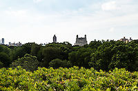 View of The Beresford and Central Park West from the roof of the Metropolitan Museum of Art. New York, New York.