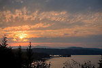 Idaho, North, Coeur d'Alene. Sunset over Arrow Point on Lake Coeur d'Alene.