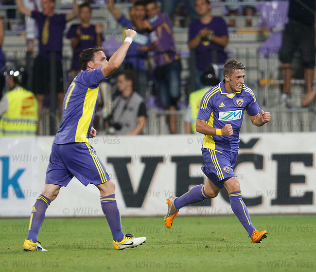 Maribor's Agim Ibraimi celebrated his goal