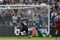 Sergio Aguero of Manchester City first penalty was saved by Lukasz Fabianski of West Ham United but VAR ruled it out during West Ham United vs Manchester City, Premier League Football at The London Stadium on 10th August 2019