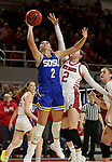 VERMILLION, SD - JANUARY 19: Rylie Cascio Jensen #2 of the South Dakota State Jackrabbits lays the ball up past Liv Korngable #2 of the South Dakota Coyotes at the Sanford Coyote Center on January 19, 2020 in Vermillion, South Dakota. (Photo by Dave Eggen/Inertia)