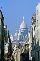 Sacre Coeur as seen from Chartres St, 18th Arrondissement, Paris, France.
