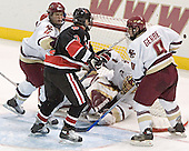 Mike Brennan, Ryan Ginand, Cory Schneider, Nathan Gerbe - The Boston College Eagles defeated Northeastern University Huskies 5-3 on Saturday, November 19, 2005, at Kelley Rink in Conte Forum at Chestnut Hill, MA.