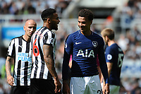 Dele Alli of Tottenham Hotspur and Jamaal Lascelles of Newcastle United exchange verbalsduring Newcastle United vs Tottenham Hotspur, Premier League Football at St. James' Park on 13th August 2017