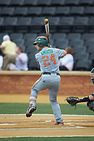 Michael Amditis (24) of the Miami Hurricanes at bat against the Wake Forest Demon Deacons at David F. Couch Ballpark on May 11, 2019 in  Winston-Salem, North Carolina. The Hurricanes defeated the Demon Deacons 8-4. (Brian Westerholt/Four Seam Images)