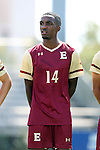 28 August 2016: Elon's Hassan Pinto. The Elon University Phoenix played the University of San Diego Toreros at Koskinen Stadium in Durham, North Carolina in a 2016 NCAA Division I Men's Soccer match. USD won the game 2-1.