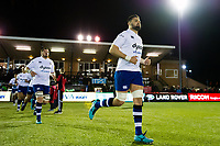 Elliott Stooke and the rest of the Bath Rugby team run onto the field. Aviva Premiership match, between Newcastle Falcons and Bath Rugby on February 16, 2018 at Kingston Park in Newcastle upon Tyne, England. Photo by: Patrick Khachfe / Onside Images