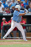 North Carolina outfielder Chaz Frank (2) at bat during Game 3 of the 2013 Men's College World Series against the North Carolina State Wolfpack at TD Ameritrade Park on June 16, 2013 in Omaha, Nebraska. The Wolfpack defeated the Tar Heels 8-1. (Andrew Woolley/Four Seam Images)