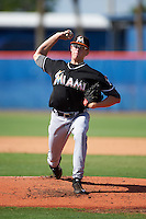 GCL Marlins pitcher Chris Paddack (40) delivers a pitch during the first game of a doubleheader against the GCL Mets on July 24, 2015 at the St. Lucie Sports Complex in St. Lucie, Florida.  GCL Marlins defeated the GCL Mets 5-4.  (Mike Janes/Four Seam Images)