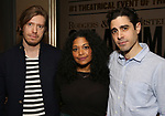 """Patrick Vaill, Rebecca Naomi Jones and Damon Daunno attends the Rodgers & Hammerstein's """"Oklahoma!"""" Cocktail Party at Bob's Steak & Chop House on February 19, 2019 in New York City."""