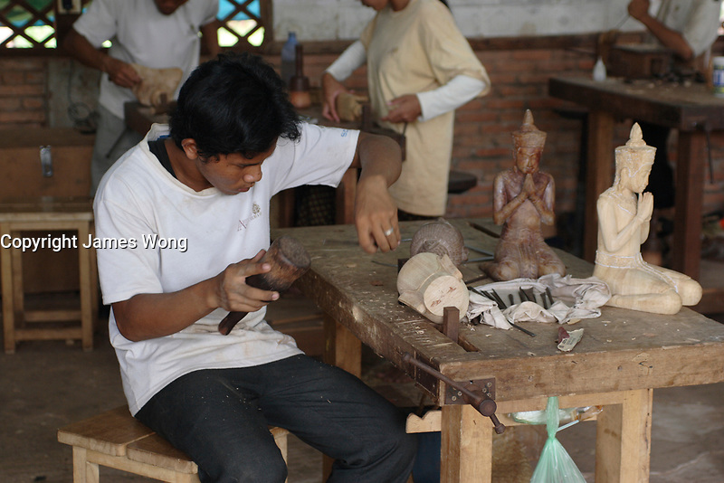 Siem Reap, Cambodia - 2007 File Photo -<br /> <br /> wood carver, <br /> <br /> <br /> <br /> photo : James Wong-  Images Distribution