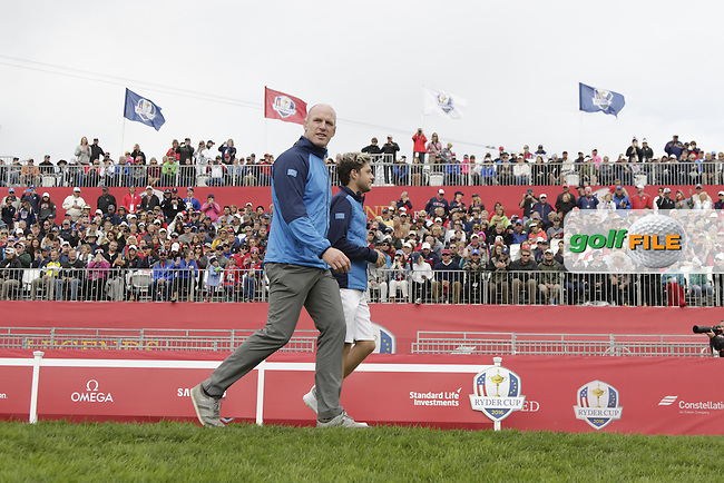 Irish rugby star Paul O'Connell and singer Niall Horan playing in Match 4 of the Ryder Cup Celebrity Matches during Tuesday's Practice Day of the 41st RyderCup held at Hazeltine National Golf Club, Chaska, Minnesota, USA. 27th September 2016.<br /> Picture: Eoin Clarke | Golffile<br /> <br /> <br /> All photos usage must carry mandatory copyright credit (&copy; Golffile | Eoin Clarke)