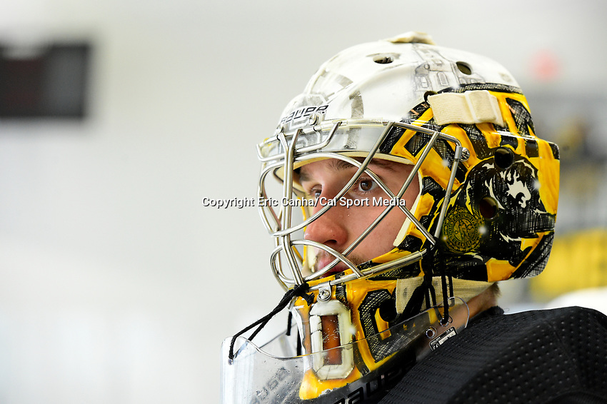 June 28, 2018: Boston Bruins goalie Dan Vladar (80) waits for his turn in the net during the Boston Bruins development camp held at Warrior Ice Arena in Brighton Mass. Eric Canha/CSM