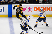 June 12, 2019: Boston Bruins center Sean Kuraly (52) and St. Louis Blues defenseman Vince Dunn (29) in game action during game 7 of the NHL Stanley Cup Finals between the St Louis Blues and the Boston Bruins held at TD Garden, in Boston, Mass.  The Saint Louis Blues defeat the Boston Bruins 4-1 in game 7 to win the 2019 Stanley Cup Championship.  Eric Canha/CSM.