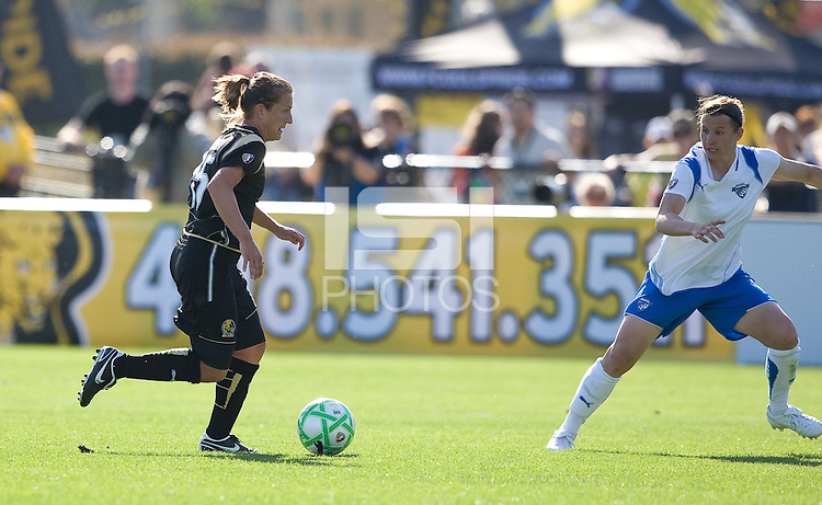 Tiffeny Milbrett. FC Gold Pride defeated the Boston Breakers, 2-1, in their home opener on April 5, 2009 at Buck Shaw Stadium in Santa Clara, CA.
