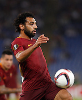 Calcio, Europa League: Roma vs Astra Giurgiu. Roma, stadio Olimpico, 29 settembre 2016.<br /> Roma&rsquo;s Mohamed Salah controls the ball during the Europa League Group E soccer match between Roma and Astra Giurgiu at Rome's Olympic stadium, 29 September 2016. Roma won 4-0.<br /> UPDATE IMAGES PRESS/Riccardo De Luca