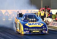 Feb 6, 2015; Pomona, CA, USA; NHRA funny car driver Ron Capps during qualifying for the Winternationals at Auto Club Raceway at Pomona. Mandatory Credit: Mark J. Rebilas-