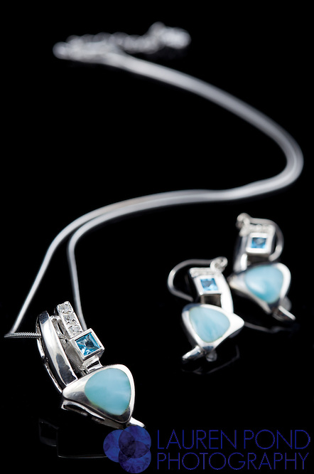 "Marah Lago Larimar collection. ""Curva"" necklace and earring set. Sterling silver and topaz."