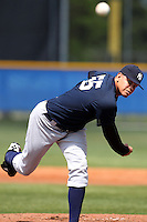 New York Yankees minor league player pitcher Dellin Betances #55 delivers a pitch during a game vs the Toronto Blue Jays at the Englebert Minor League Complex in Dunedin, Florida;  March 21, 2011.  Photo By Mike Janes/Four Seam Images